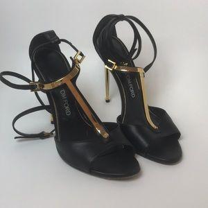 Tom Ford Elena Gold Bar Wrap Sandal Heels